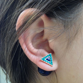 Triangle Sea Green & Navy Double-Sided Earrings