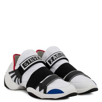 Giuseppe Zanotti Gz Jump R18 White And Blue Fabric Sneaker With Elastic Bands - Best Deal Online