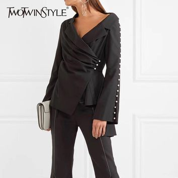 TWOTWINSTYLE Pearls Blazer For Women Off Shoulder Irregular Collar Flare Sleeve Ruched Coats Spring Fashion Sexy Clothing 2018