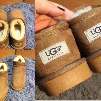 UGG Short boots antiskid warm lazy sheep fur ugg boots pure color Camel color