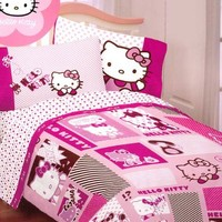 Hello Kitty Bedding Set Twin - Pink Comforter Sheets - Twin Bed