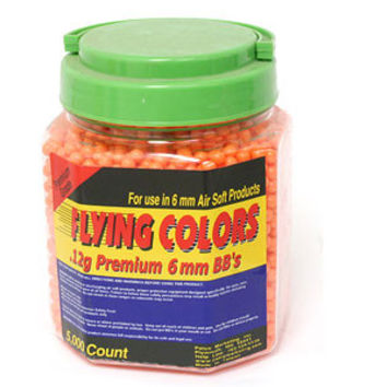 Flying Colors 6mm plastic airsoft BBs, 0.12g, 5000 rds, orange