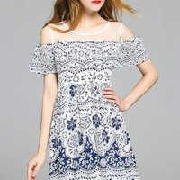 Cold Shoulder See-Through Lace Dress