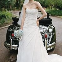 Faille Side Draped A Line Gown with Lace Appliques - David's Bridal