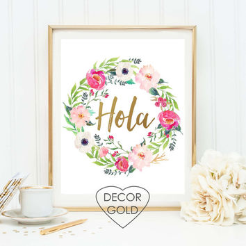 hola spanish hello saying quote gold foil print sign home gift gold office decor gold home decor greeting holiday gift typography art