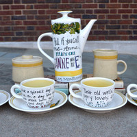 Anne of Green Gables Tea Set - Hand painted, ceramic tea pot, four cups and saucers - Anne Shirley Quotes - Literary