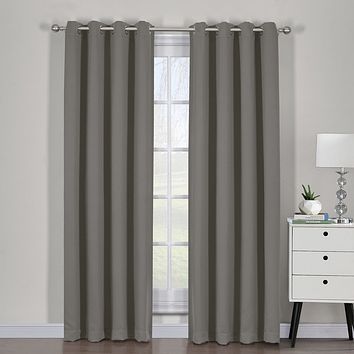 Gray Ava Blackout Weave Curtain Panels With Tie Backs Pair (Two Panels )