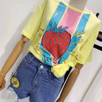 """Gucci "" Women Casual Fashion Retro Strawberry Pattern Letter Cute Short Sleeve T-shirt Tops Tee"