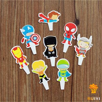 48pcs superhero spiderman batman The Avengers candy bar cupcake toppers pick baby shower kids birthday party supplies AW-0402