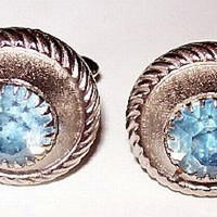 """Mens Cuff Links Sky Blue Rhinestones Silver Plated Metal Round Button Style 1"""" Vintage"""