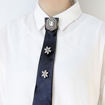 MANILAI 4 Colors Luxury Big Crystal Shirt Bow Tie Brooches Pin Long Collar Fashion Wedding Jewelry Clothes Accessories