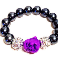 Happy Buddha Bracelet, Beaded, Stretch, Purple Happy Buddha Bead with 2 Silver Accent Beads and 12mm Grey Beads Made to Your Size Bracelet