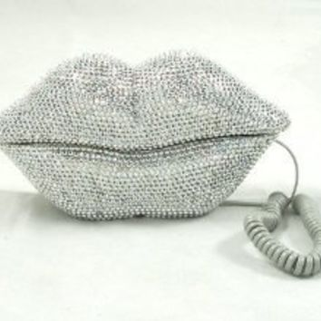 Hot Lips Phone - Silver Rhinestone: Home & Kitchen