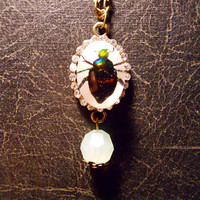 Tiny Rhinestone Fortune Beetle Specimen in Resin with Dangle