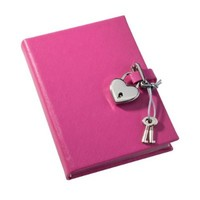 POST Journal with Lock, Saffiano Pink, 4.25 x 6-Inch