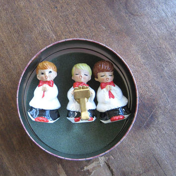 Set of 3 Midcentury Lefton Choir Boy Figurines w/ Labels in Gift Tin; Imperfectly Sweet Christmas Figurines; U.S. Shipping Included