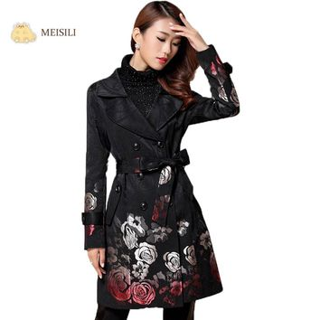 MEISILI Long Floral Print Trench Coat Spring Coat for Women Black Jacquard Coat with Belt Windbreakers Overcoat Casaco Feminino