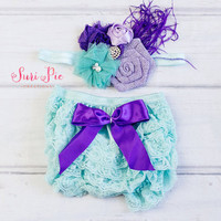 Baby Ruffle Bloomers set ..Cake Smash Outfit..Under the Sea Aqua Lavender Purple Lace Ruffle Bum Baby Bloomer..Diaper Cover..Ruffle Bloomer
