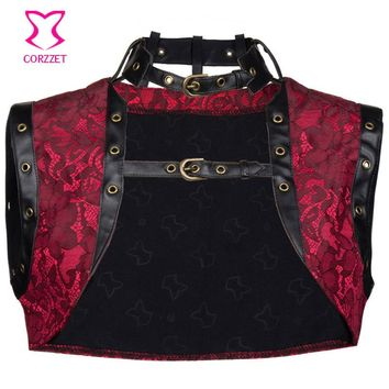 Red Floral Brocade Women Steampunk Corset Jacket Coat Sexy Bolero Top Gothic Clothing Burlesque Corsets and Bustiers Accessories