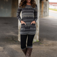 Winter's Night Tunic, Gray/Black