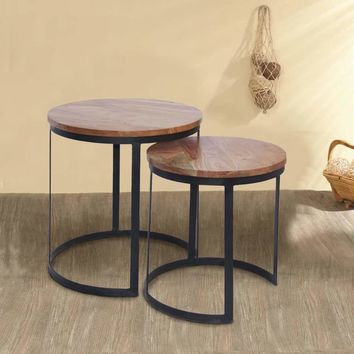 Round Wooden Nesting Tables With Metal Base , Set of 2, Brown and Black By The Urban Port