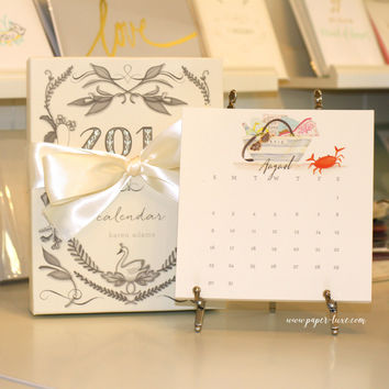 2016 Karen Adams Calendar with Gift Box with Gold or Silver Easel