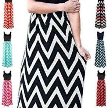 HanDanGe Womens Summer Chevron Striped Print Dress Tank Long Maxi Dresses for Women