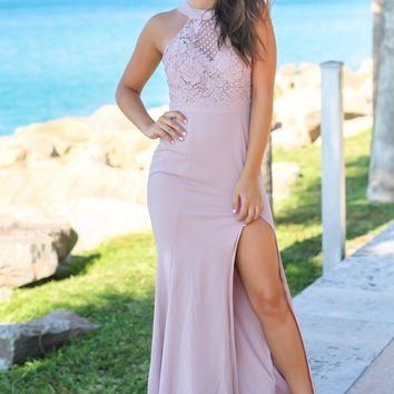 Mauve Maxi Dress with Crochet Top and Side Slit