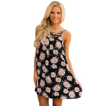 Black Floral Print Crisscross Neckline Shift Dress