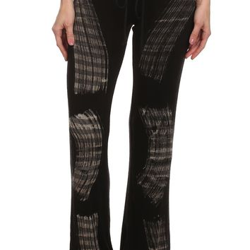 Brushstroke/Tie Dye Print Pant with a Banded Waist and Waist Tie