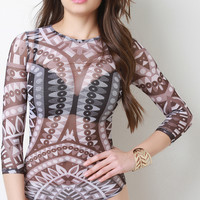 Tribal Print Semi Sheer Bodysuit