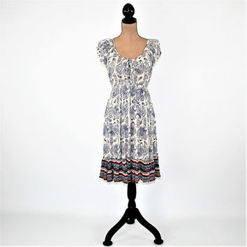Gypsy Peasant Dress Hippie Clothes Boho Summer Dress Rayon Midi Dress Short Sleeve Dress Blue & White Paisley Dress Womens Clothing