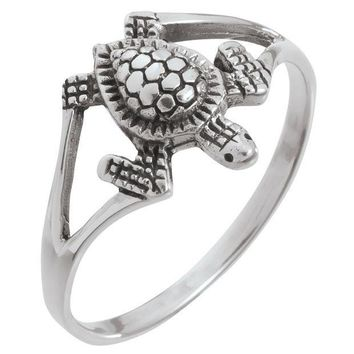 PEAPGQ9 Sea Turtle Sterling Silver Ring