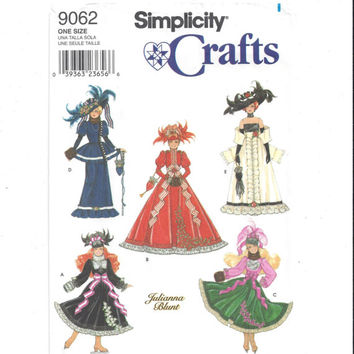 Simplicity 9062 Pattern for 11.5 Inch Fashion Doll Victorian Clothes, FACTORY FOLDED, UNCUT, Julianna Blunt, 1998, Home Sew Pattern, Crafts
