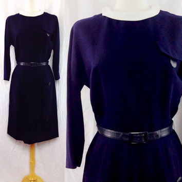 Vintage 60s PECK & PECK Fifth Avenue New York Secretary Babydoll Peter Pan Collar Waitress Mod Dress