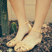 Leather Caged Sandal, Camel