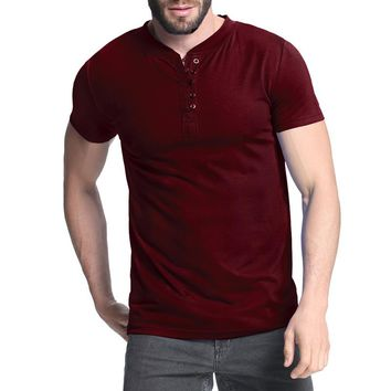 Men's Henley Shirt 2018 Summer Plian Tee Tops Short Sleeve Stylish Slim Fit Bodybuilding T-shirt Casual Top Men Male T-shirts