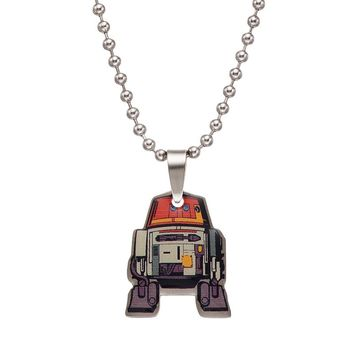 Star Wars Rebels Stainless Steel Chopper Pendant Necklace (Orange)