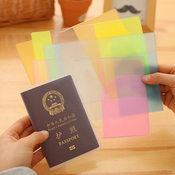 Waterproof PVC Passport Cover Colorful Cover Case Travel Passport Holder Cover Transparent Matte Passport Protective