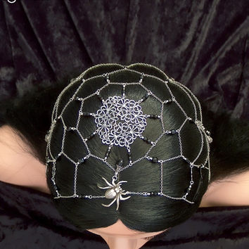 Queen Arachna - Antique Silver Sider Web Gothic Black Headpiece
