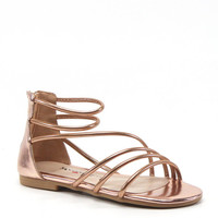Luichiny Shoes Been Seen Rose Gold Pink Sandals Imi Leather