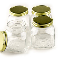 """Quadro Firenze Jar, 7 Oz., 1.8"""" Opening, Plastisol Lined Gold Metal Caps, 4 Pack"""