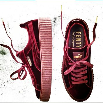 PUMA Women Casual Running Sport Shoes Sneakers Wine red-3