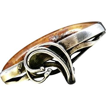 1960s Vintage Mid Century Fine 950 Sterling Silver Artisan Crafted Amber Statement Ring Currently a Size 6.25