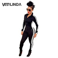 VESTLINDA Women Black Jumpsuit Winter Rompers Side Striped Long Sleeve Zippered Pockets Sexy Bodycon Jumpsuits Bodysuit Overalls