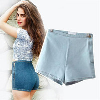 2016 High Waisted Denim Shorts For Women Candy Color Short Jeans Ladies Slim Summer Casual Trousers Jeans Female YEU