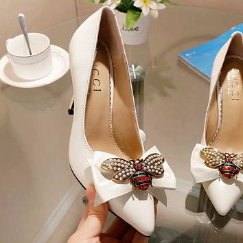 GUCCI high quality new fashion diamond pearl bee bow 9 cm high heels shoes women White