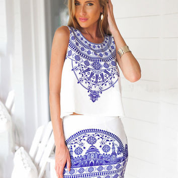Blue and White Porcelain Print Sleeveless Top Chiffon Bodycon Mini Dress Set