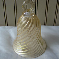 Vintage Murano Glass Bell Gold Swirls Made in Italy Antique