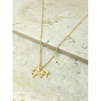 Vanessa Mooney x Gold & Crystal Horse Necklace